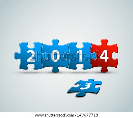 New Year 2014 card made from blue and red puzzle pieces vector illustration