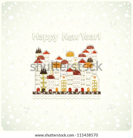 New Year card - snow and small white town - vector illustration