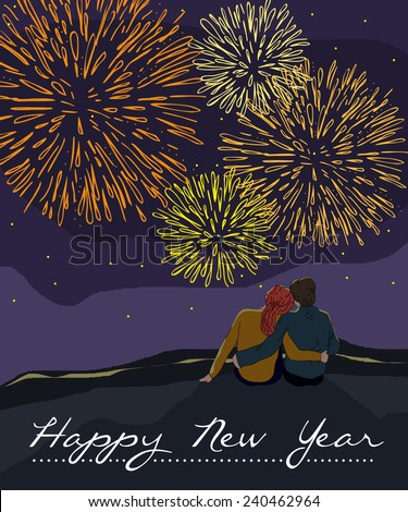New Year card with couple watching the fireworks - stock vector