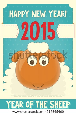 New Year Card with Cute Cartoon Sheep. Symbol of 2015 year. Year of the Sheep. Vector Illustration. - stock vector