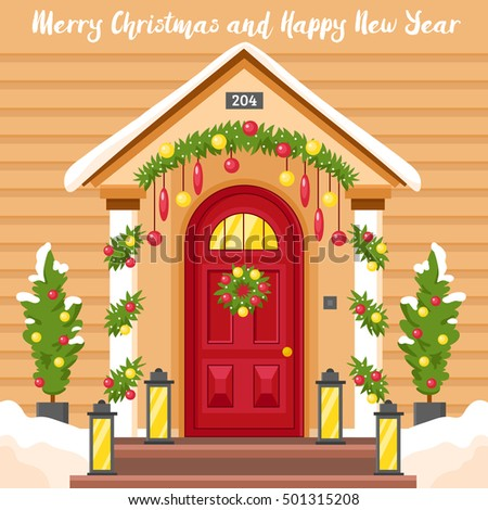 Christmas Front Door Clipart decorative door welcome christmas stock images, royalty-free