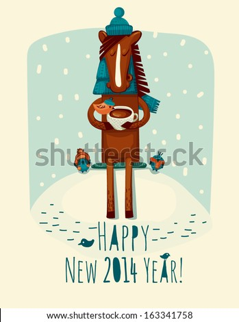 New Year card with horse - stock vector