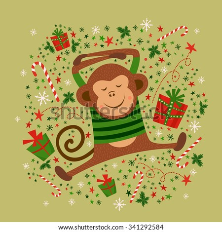 New year card with monkey, vector illustrations - stock vector