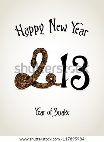 New Year card with snake representing a year of snake - stock vector
