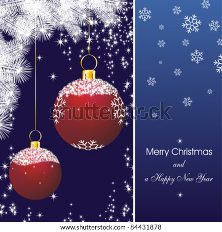 new year card with stars in blue and fir branch silhouette and christmas decorations