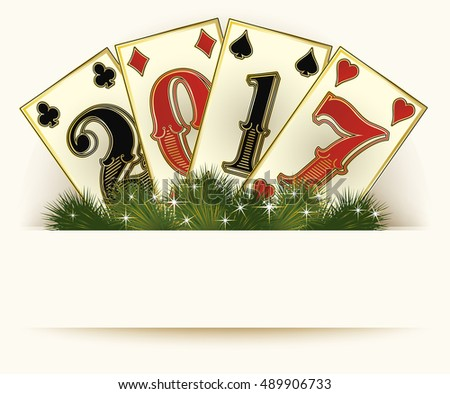 New 2017 year casino background poker cards, vector illustration