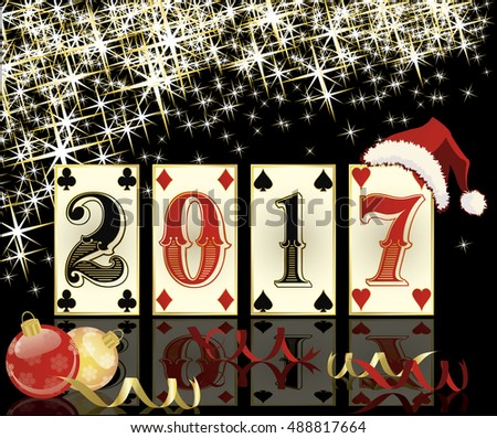 New 2017 year casino background with poker cards, vector illustration