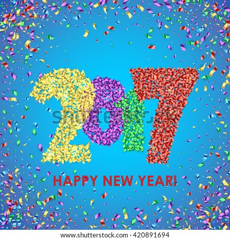 New Year 2017 celebration background. Happy New Year colorful digital type on blue background with confetti. Greeting card template. Vector illustration.