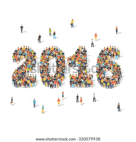 New year celebration concept. Crowds of people forming 2016 digits aerial view. Flat style vector illustration isolated on white background. - stock vector