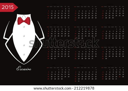 New year 2015 celebration European calendar.Business tuxedo background with a red bow tie and copy space.Flat vector - stock vector