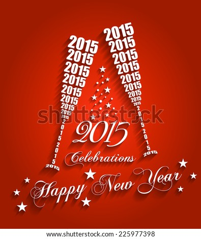 New Year 2015 Celebrations - Stylish Wine Glass Toasting Design with Shadows (EPS10 Vector)  - stock vector