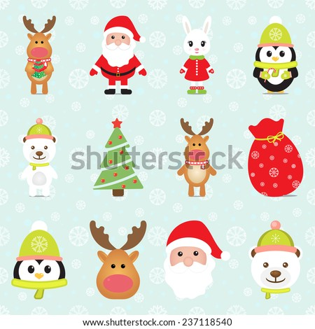 New Year 2015. Christmas elements with Santa Claus, Penguin, White Bear, Rabbit, Reindeer, Gift box and Christmas tree. Seamless winter background with snowflakes. Vector image.  - stock vector