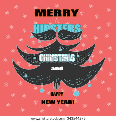 New Year / Christmas greeting card with Hipsters Beard funny illustration  - Grey beard and mustache as Christmas tree with Christmas decorations and greeting text. On red background. Vector.