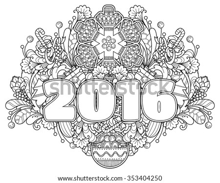 New Year composition 2016 in doodle style. Floral, ornate, decorative, tribal, New Year design elements. Black and white background. Christmas tree, candy, snowflake, bow. Zentangle coloring book page - stock vector