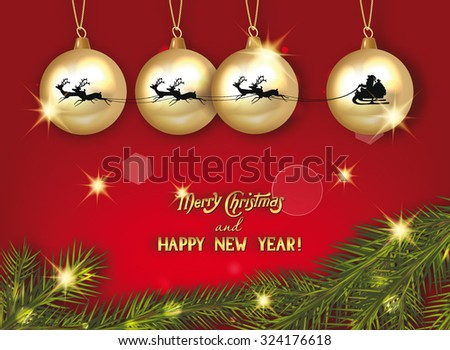 new year composition with gold balls, reindeer and fir branches - stock vector