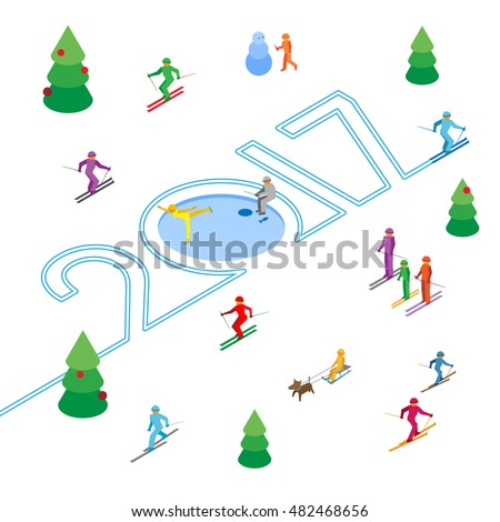 new year 2017 concept skier write numbers in the snow lot of colorful people