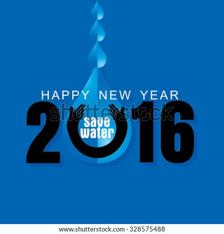 new year concept with water drop vector  - stock vector