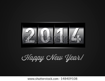 New Year counter. Vector illustration on black - stock vector