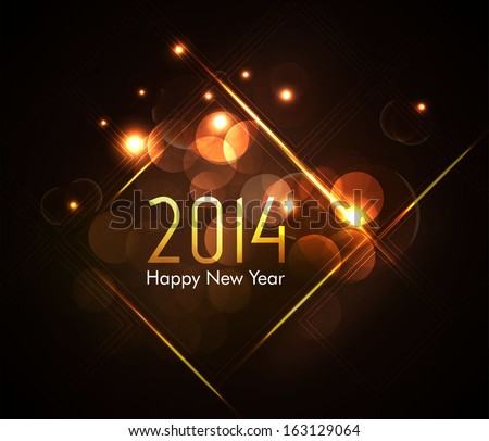 New Year 2014  Dark Background with elemental vector Drawing perfect for New year Party invitation cards. - stock vector