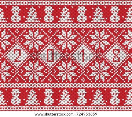 New Year 2018 Design Fair Isle Stock Vector 724953859 - Shutterstock