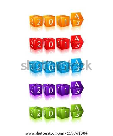 New 2014 Year Digits on 3d Red Cubes Set. Icon Illustration Isolated on White Background - stock vector