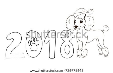 poodle animal coloring pages. new year dog coloring page santa poodle New Year Dogcoloring Page Santa Poodle Stock Vector 726975643