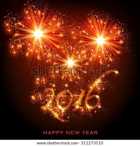 New Year 2016 easy editable - stock vector