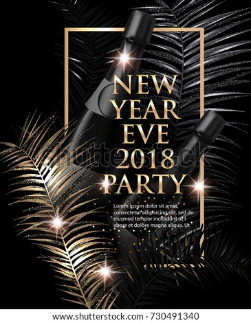 New year eve party invitation card stock vector 730491340 shutterstock new year eve party invitation card with christmas tree branches gold and black vector stopboris Choice Image