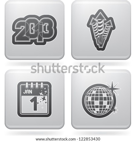New year eve symbols, from left to right, top to bottom:   2013, Fireworks, New Year' Eve, Disco ball.