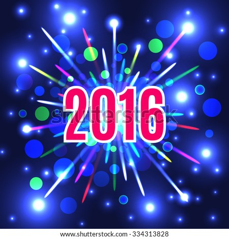 New Year 2016 fireworks background. New Year's Eve. Vector EPS10. - stock vector