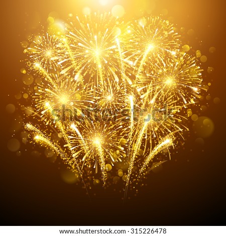 New Year fireworks on dark background. Vector illustration - stock vector