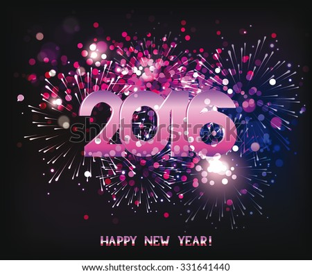 New year fireworks  purple background 2016