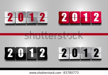 New 2012 Year flip counter - stock vector