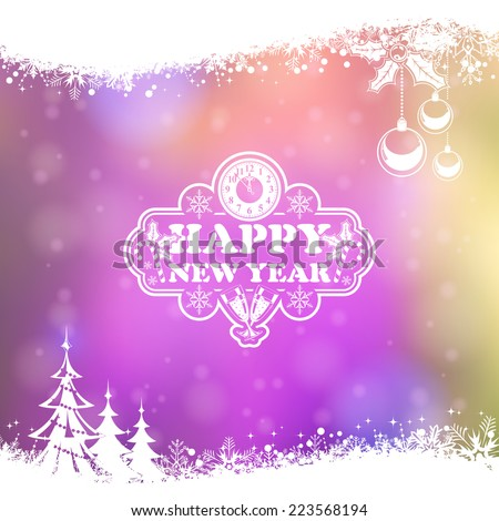 New Year Frame with Clock, Glass, Bauble, Tree and Snowflake on Blurred Bokeh Background. Vector Template for Flyers and Brochure. - stock vector
