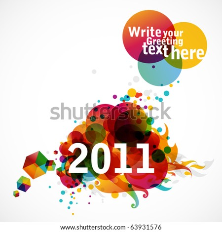 New Year 2011 - funky graphic design - stock vector