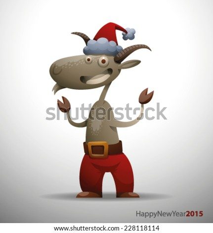 New Year funny goat, vector - stock vector