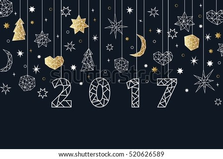 New year 2017 geometric style background stock vector 2018 new year 2017 geometric style background holiday composition with star heart moon stopboris Gallery
