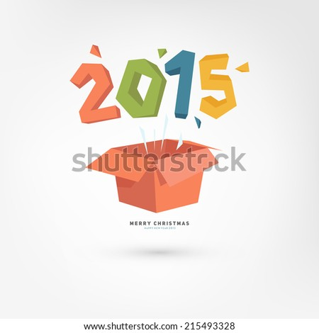 New Year Gift Box with 2015. Holiday Design. Flat Cartoon Style. - stock vector