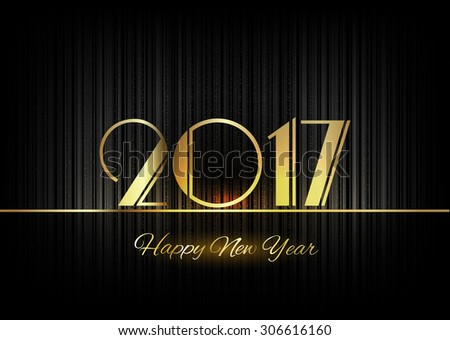 New Year 2017. Gold numbers on the black background. Luxury design elements.