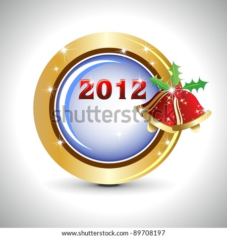 New year 2012 golden shiny buttons with Jingles bells in white background for New Year, Christmas & Other occasions.