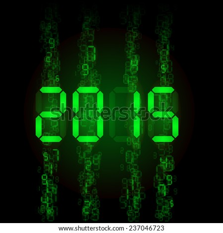 New Year 2015: green digital numerals on black.