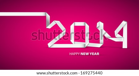 New 2014 year greeting card, banner, made in origami style, vector illustration, lucky 2014, happy new year - stock vector