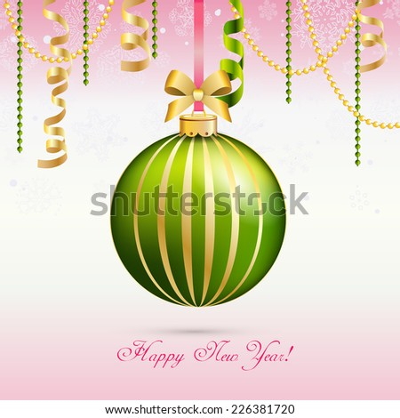 New Year greeting card. Christmas Ball with Ribbon. Xmas Decorations. Sparkles and bokeh. Shiny and glowing. Holiday Design. Vector. - stock vector