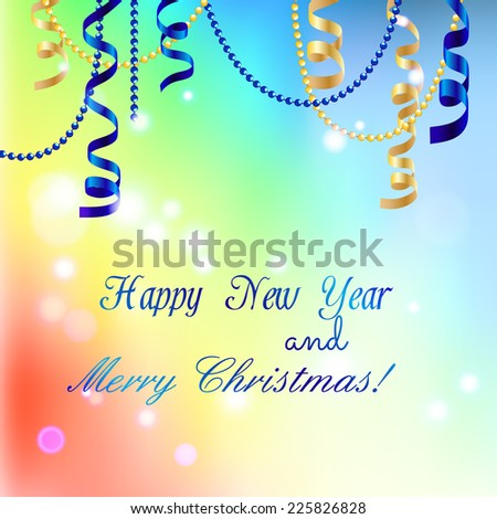 New year greeting card, Christmas Ribbon. Happy New Year and Merry Christmas. Xmas Decorations. Sparkles and bokeh. Shiny and glowing. Holiday Design for New Year Greeting Cards and Flyers. Vector. - stock vector