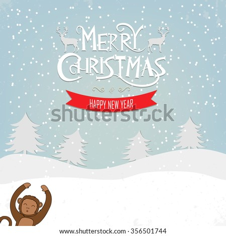 New Year greeting card funny Monkey on the winter background. Merry Christmas and Happy New Year wishes. Vector illustration. - stock vector