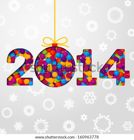 New Year 2014 greeting card made from bundle of bright confetti on the paper with snowflakes. 2014 cut through the paper. With shining glares. With free place for your text.