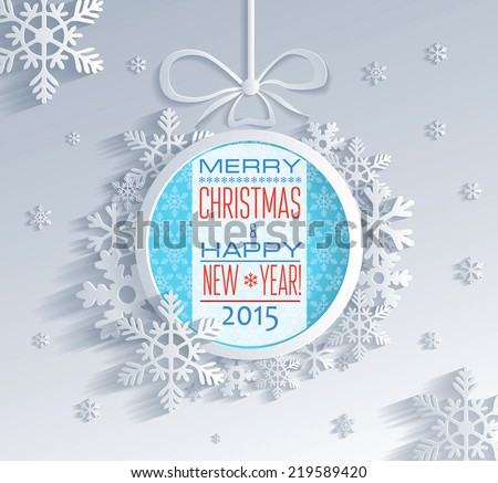 New year greeting card made in origami style - stock vector