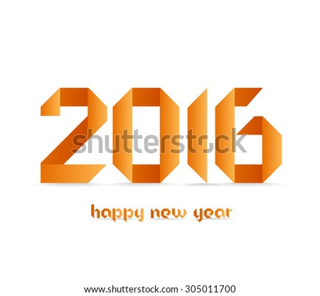 New 2016 year greeting card made in origami style - stock vector