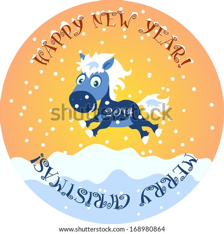 New Year greeting card. The funny cute blue horse as a symbol of New Year jumps on a snowy field - stock vector