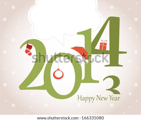 New Year Greeting Card with christmas objects - stock vector